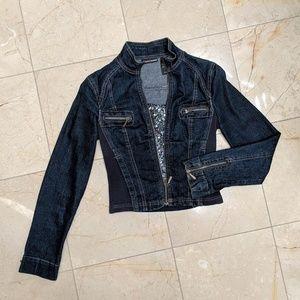 DKNY JEANS Zippered Dark Denim Jacket